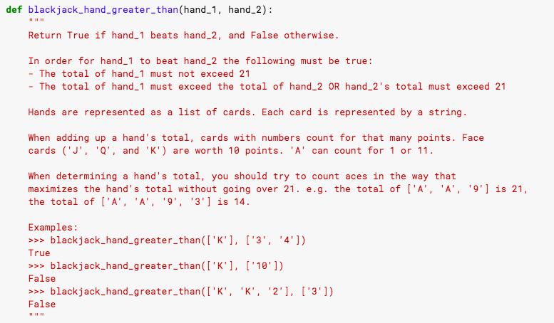 A simple blackjack function